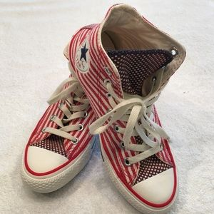 Converse All Star red white blue high tops 4.5/6.5